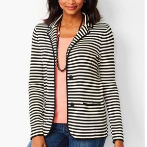 Talbots cream navy nautical stripe blazer jacket